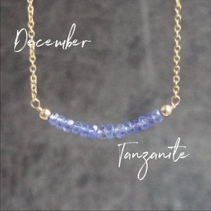 Tanzanite Gemstone 14k Gold Bar Necklace